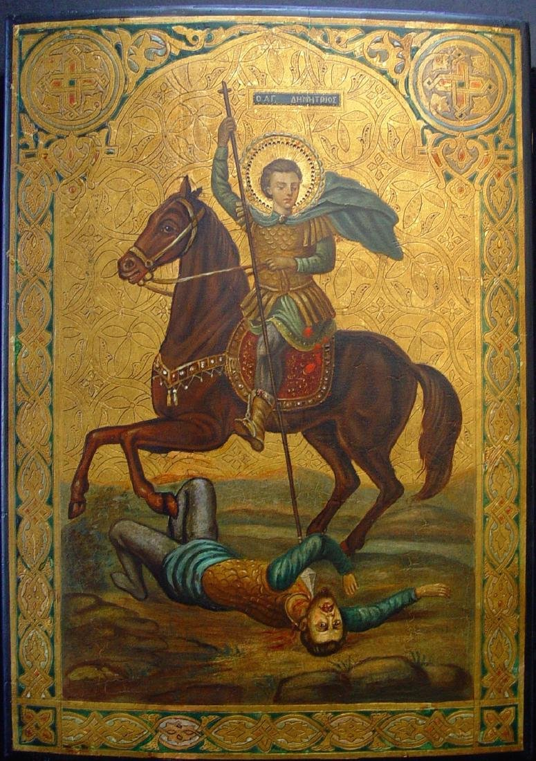 Demetrios Slaying King Kaloyani Russian Icon, 19th C