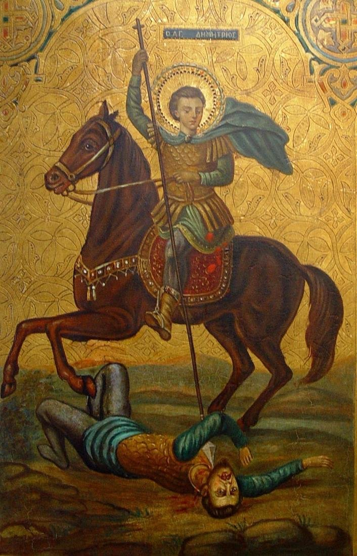 Demetrios Slaying King Kaloyani Russian Icon, 19th C - 2