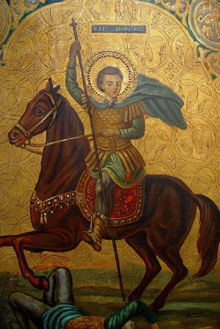 Demetrios Slaying King Kaloyani Russian Icon, 19th C - 3