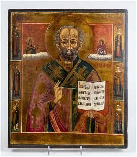 St. Nicholas with 6 Saints Russian Icon, 19th C
