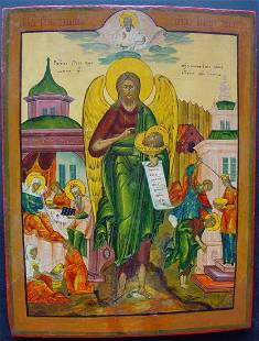 Saint John the Baptist Large Russian Icon, 18th C