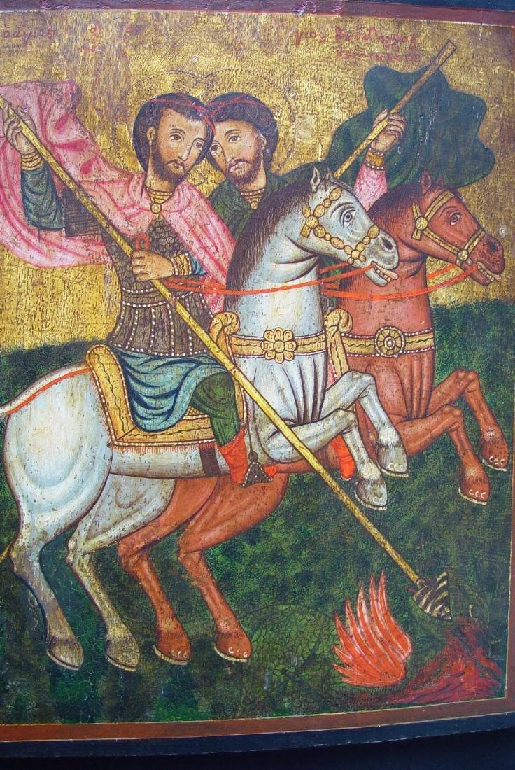 George & Demetrios of Thessaloniki Greek Icon, 1700 - 2