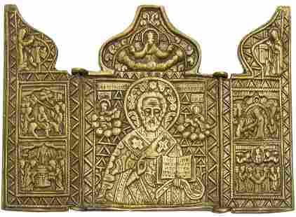 Russian Bronze Triptych, 19th C