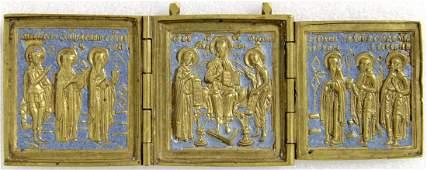 Deesis With Saints Russian Metal Enamel Triptych Icon