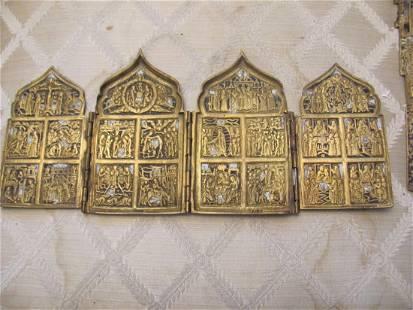 Antique Russian Bronze Enamel Resurrection Triptych