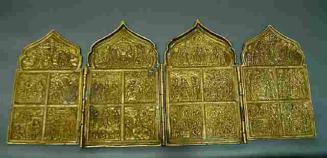 Four Leaves With Crests Russian Bronze Icon, 19th C