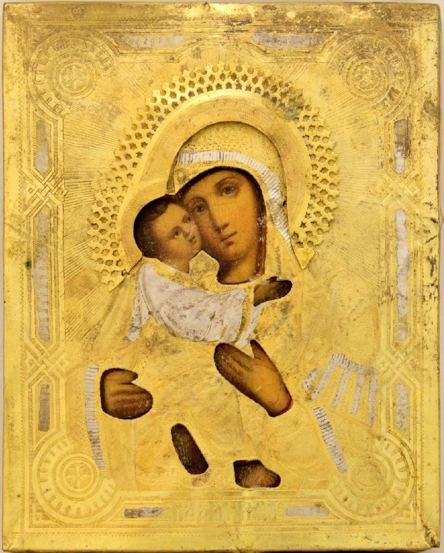 Our Lady of Vladimir Russian Oklad Icon, 19th C