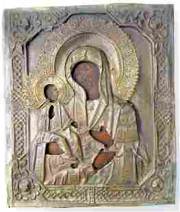 Antique 3 Hand Mother of God Oklad Russian Icon, 19th C