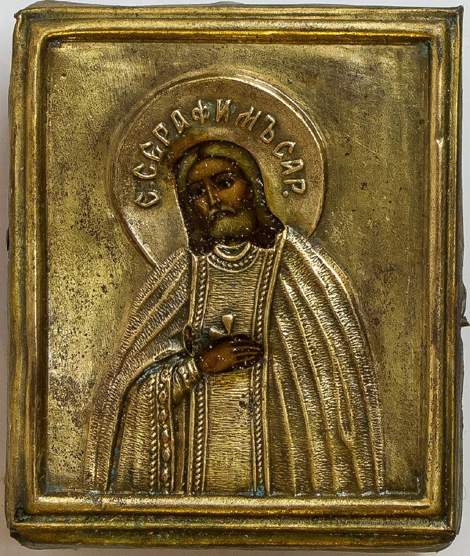 St Seraphim Sorovskiy Oklad Russian Icon, 19th C