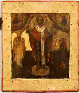 St Nicholas, Guardian Angel Large Russian Icon, 18th C