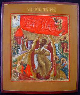 Ascension of Elijah Russian Icon, 19th C