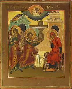 Annunciation Russian Icon, 19th C