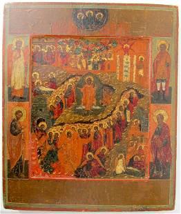 Resurrection Russian Icon, 1800
