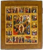 Resurrection & Descent Into Hades Russian Icon, 19th C
