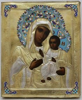 Virgin Iverskaya Enamel Oklad Russian Icon, 1908-1917