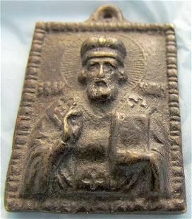St Nicholas Neck Pendant Russian Icon, 18th C