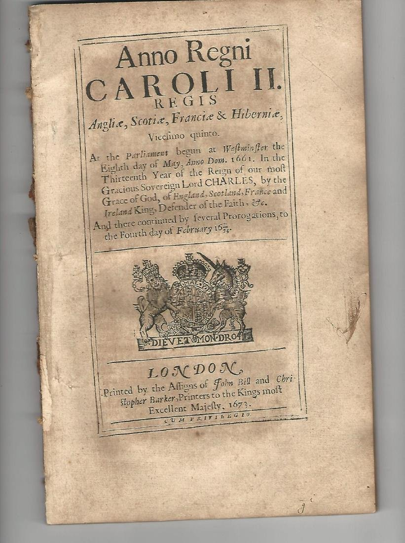 1673 Decorative Black LetterEnglish Tax Act