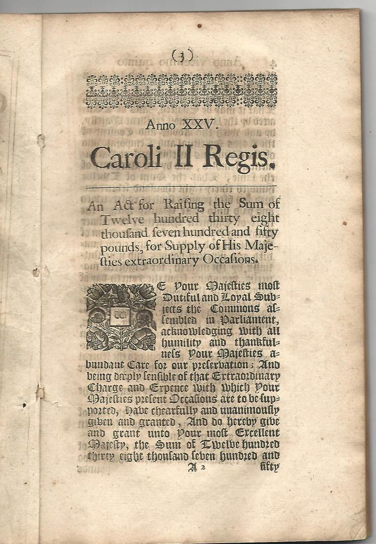 1673 Decorative Black LetterEnglish Tax Act - 2