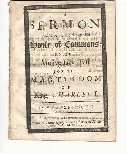 1698 Sermon Preach'd Before Honourable House Of Commons