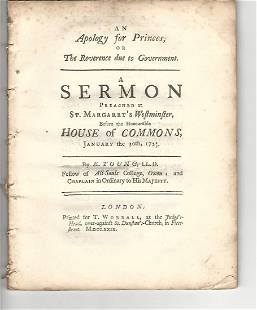 1729 Apology For Princes, Reverence Due To Government