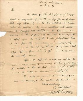1819 Als John Henry Eaton (1790-1856) Governor Florida