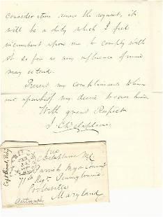 1862 Als With Transmittal Envelope Isaac C Delaplaine