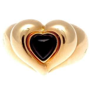 Van Cleef & Arpels 18K Gold Onyx Heart Ring