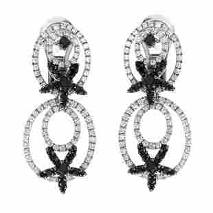 18K White Gold Black White Diamond Dangle Earrings