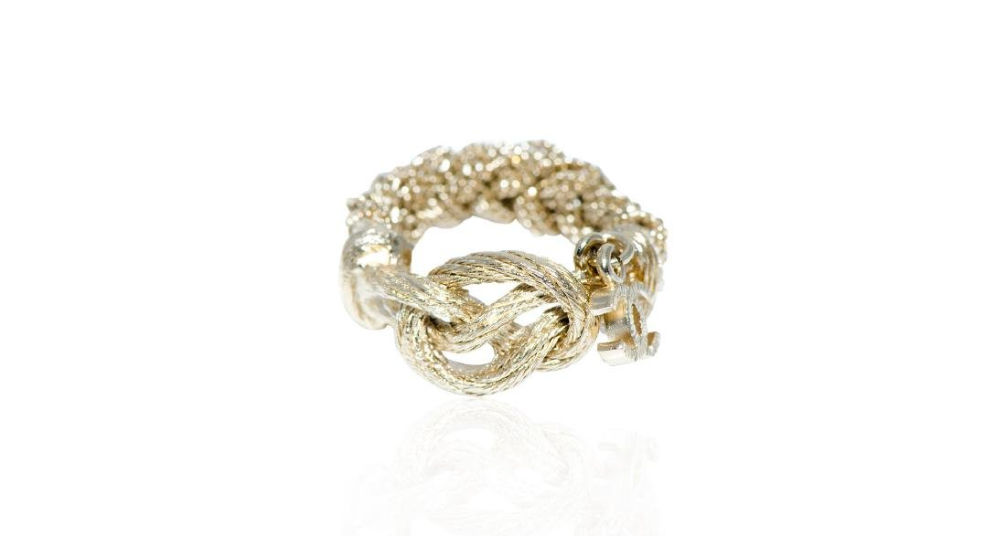 Chanel Gold Chain Ring with Hanging Logo Signature