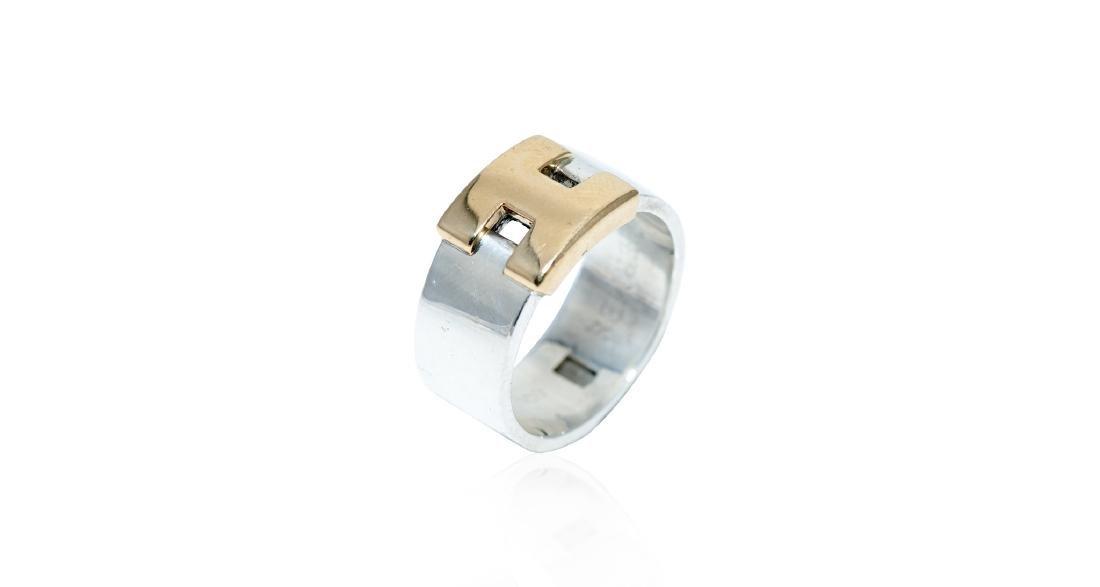 Hermes Sterling & 18K Gold H-Center Ring