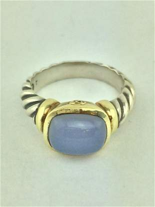David Yurman Silver 14K Gold Chalcedony Cable Ring