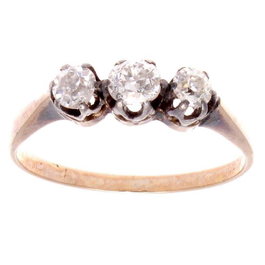 Victorian 18K Gold Three Stone Diamond Ring