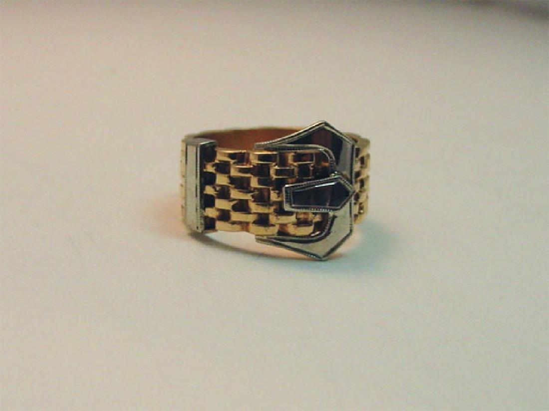 Vintage 14K Gold Belt Buckle Ring, 1950s