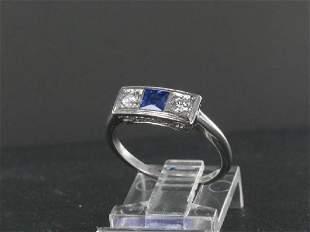 Vintage Platinum Diamond & Ceylon Sapphire Ring