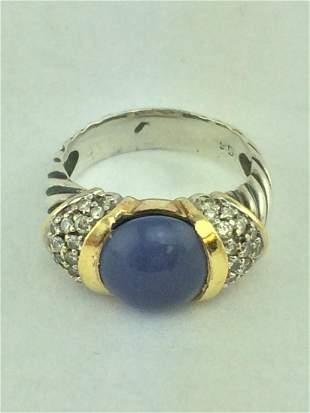 David Yurman Silver 18K Chalcedony Diamond Cable Ring