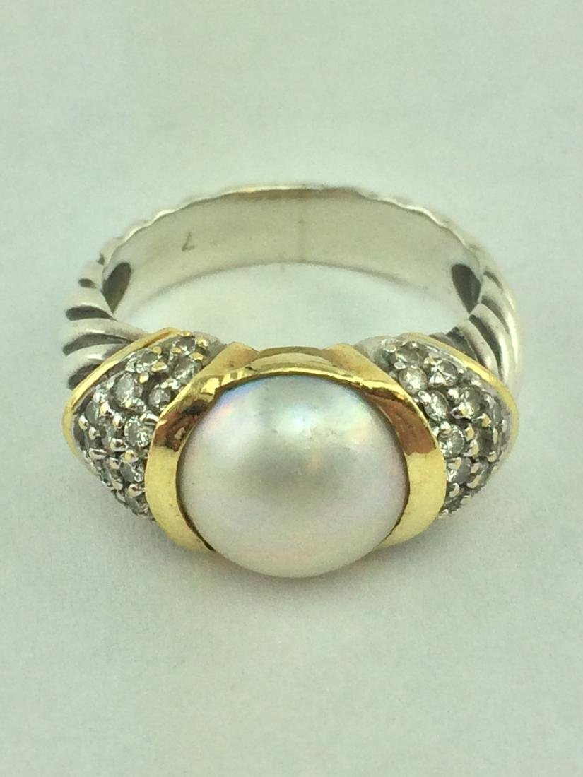 David Yurman Silver 18K Gold Pearl Diamond Cable Ring