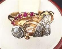 Art Deco 14K Rose Gold Diamond Ruby Ring