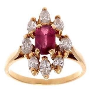 Victorian 18K Gold Ruby Diamond Ring