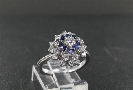Vintage 14K Gold Platinum Diamond Sapphire Ring