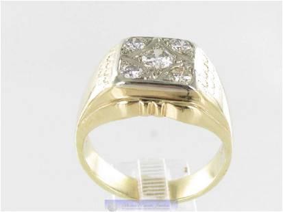 Vintage Art Deco 14K Gold 5 Diamond Men's Ring