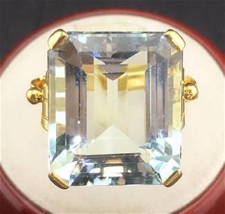 Art Deco 14k Yellow Gold Aquamarine Ring