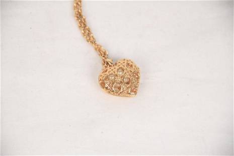 Christian Dior Gold Cannage Heart Pendant Necklace