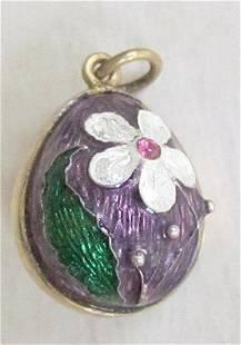 Antique Russian Silver Enamel Egg Pendant
