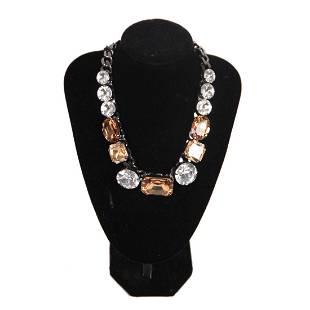 Marina Fossati Gunmetal Bicolor Crystals Necklace