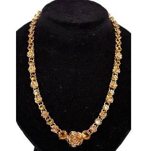 Prada Gold Rhinestones Roses Necklace with Box
