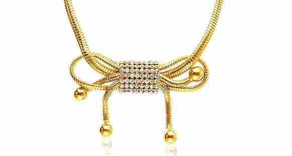 Sharra Pagano Gold Gilt Omega Bow Design Chain Necklace