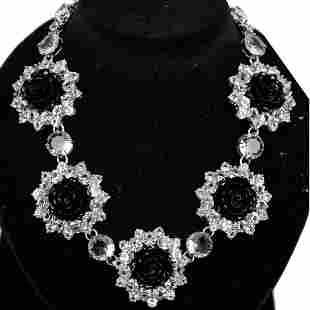 Prada Silver Rhinestones Black Resin Rose Necklace
