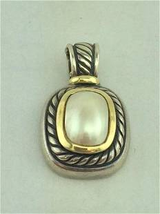 David Yurman Silver 14K Gold Mabe Pearl Albion Pendant