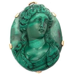 Antique Victorian 18K Gold Malachite Cameo Pendant