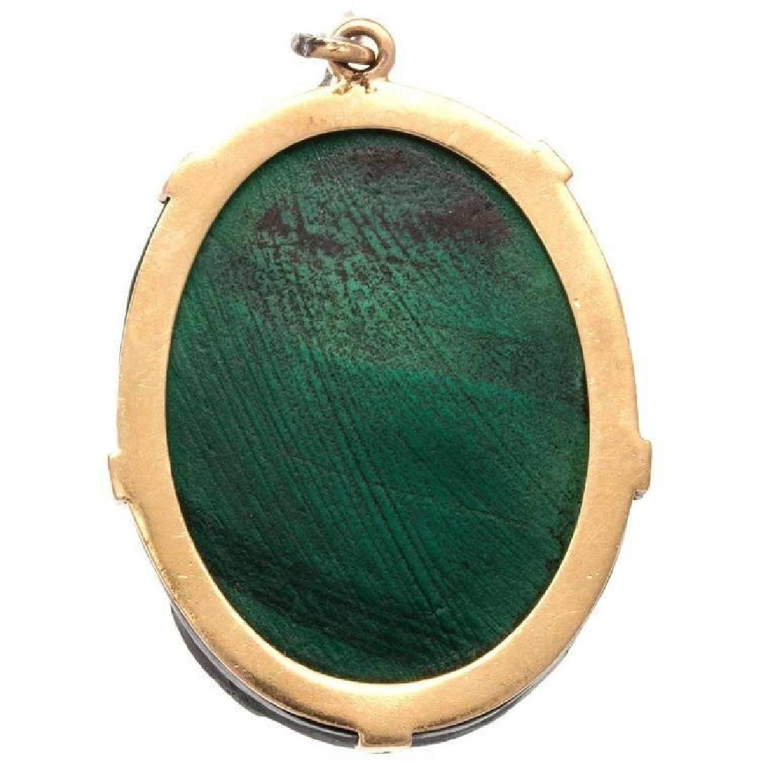 Antique Victorian 18K Gold Malachite Cameo Pendant - 2